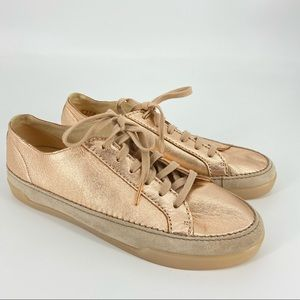 Clarks Metallic Rose Gold Leather Sneakers Size 10